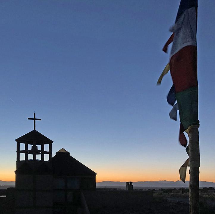 Cross at sunset at Miyo Samten Ling