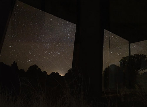 Night sky with stars in solitary cabin at Miyo Samten Ling Hermitage